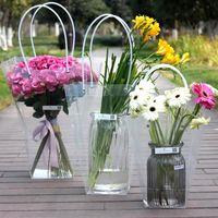 Gift Wrap Portable Flower Box Waterproof Plastic Handy Bag Handbag Wedding Rose Party Packaging For Candy Cake Birthday