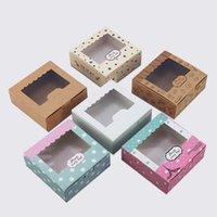 Gift Wrap 13.5x13.5x5cm Kraft Cookies Biscuit Packaging Paper Box Wedding,craft Cake With Pvc Window,cupcake Packing Cardboard