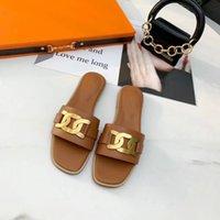 Zapatillas de sandalias de tacón alto Gladiador de cuero para mujer Sandalias de playa de verano Zapatos de tacón alto Moda Sexy letra Sexy Damas Golden Sliver Plano