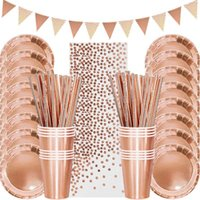 Rose Gold Disposable Tableware Set Paper Plate Cup Napkin Wedding Kids Adult Birthday Party Table Decoration Baby Shower