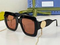 패션 인기 여성 선글라스 1022 빈티지 사각형 모양 금속 체인 스트랩 안경 대형 최고 품질 Avant Garde 독특한 스타일 안티 - 자외선 상자와 함께 제공