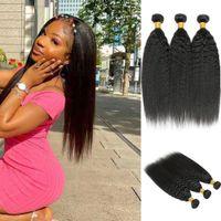Unprocessed Peruvian Kinky Straight Virgin Hair Weaves 4 Bundles Peruvian Human Hair Extensions Kinky Straight Hair Weave Bundles