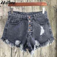 Kkillero Vintage Roade Hole Bringe 6 Цвет Джинсовые Шорты Женщины Повседневная Карманные джинсы Шорты Летняя Девушка Горячие Шорты SL086 X0320