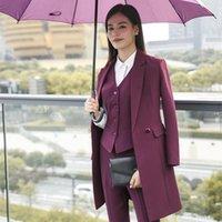 Women's Suits & Blazers Elegant Women Suit Office Lady Business Work Pant Female Uniforms Long Jackets Trousers Vest Plus Size 4XL XXXL Wint