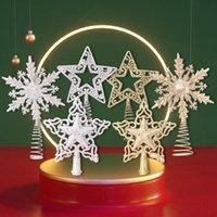 Árbol de Navidad Topper Oro Plata Glitter Star Snow Copojo Navidad Árboles Colgantes Ornamentos Partido Decoración del hogar Navidad GWE9821