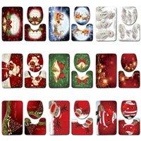 Счастливого Рождества Лось Санта Ванная комната Водонепроницаемый Душевая Занавеска Пьедестал Ковер Круг Круг Крышка Туалет Набор туалетов