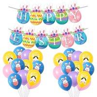 Dekorasyon bayrak lateks balonlar şenlikli parti malzemeleri tavşan afiş paskalya doğum günü partisi dekorasyon