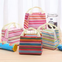 Portable Carry Case Lunch Box Canvas Stripe Picnic LunchDrink Thermal Insulated Cooler Tote Bag 6 Colors AHB6935