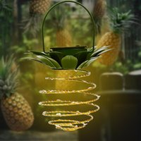 Solar Pineapple Light Iron Lantern Led Copper Wire String Lights Outdoor Waterproof Garden Decoration Hanging Lawn Lamps