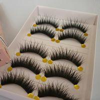 False Eyelashes 5 Pairs lot Handmade Long Thick Cross Natural Maquiagem Professional Makeup Eye Lashes Extension Tools