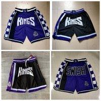 "Männer Basketball Shorts Retro einfach Don Pocket Short 5 De'aaron Fox Jersey Jason 55 Williams 4 Webbe Sacramento ""Kings"" Shorts 811"