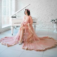 Maternity Dresses Photo Shoot Tulle Matching Feathers Pregnancy Prom Dress Photography Props Maxi Gown for Pregnant Women