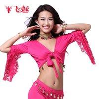 Camicia a maniche lunghe in costume da ballo quadrato Camicia a maniche lunghe Vestito latino Belly Latte Seta Top Stage Wear