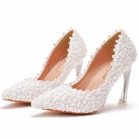 Lace Pearls Bridal Wedding Shoes 2021 9cm Kitten High Heel White Cocktail Hoco Party Shoe for Brides Bridesmaid Pointed Toe 35-41