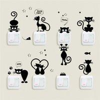 Güzel Kedi Işık Anahtarı Telefon Duvar Çıkartmaları Çocuk Odaları Için DIY Ev Dekorasyon Karikatür Hayvanlar Çıkartmaları PVC Mural Art