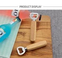 Simple non-porous wooden handle stainless steel bottle openers household bar beer soda opener FWD9177