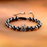 Beaded, Strands Luxury Crown Micro Pave CZ 8mm Disco Charm Men Bracelet Classic Hematite Beaded Woven Bracelets Bileklik Women Jewelry