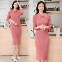 Casual Dresses Solid Winter Korean Style Thick Knitted 2021 Jumper Woman Warm Pollover Sweater Dress Women Autumn