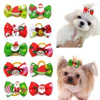 Dog Apparel 10pcs Christmas Hair Clips Pet Dogs Accessories Bows Grooming Bow Cat With Elastic Rubber