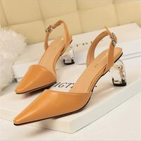 Sandals Women High Heels Yellow Lady Leather Stripper Transparent Block Clear Low Sandles Wedding Bridal Shoes