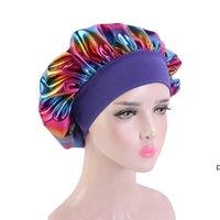 Sombreros Musulmanes Mujeres Ancho Seda Seda Satin Satin Bandana Noche Durmiente Turban Hat Sombrero Bonete Accesorios para el cabello DHB5979