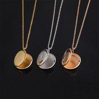 Runde Edelstahl-Speicheröffnung Medaillon Halskette Familie Foto Magic Medailat DIY Gravierbare Halskette Schmuck Geschenk für Baby 3626 Q2