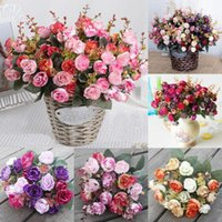 Artificial Rose Silk Fake Peony Vintage Flower Leaf Home Wedding Party Bridal Hydrangea Bouquet Garden Grave Outdoor Decor Decorative Flower