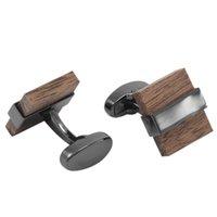 Plaza europea y americana enlaces de madera de alta calidad para hombre negocio joyería de madera botones de madera brazo francés brazalete