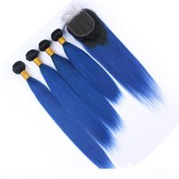 الأزرق الداكن أومبير البرازيلي الشعر البشري ينسج 4 قطع مع إغلاق مستقيم 1B الأزرق 2tone أومبير 4x4 الدانتيل إغلاق مع عذراء حزمة صفقات الشعر
