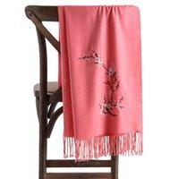가을과 겨울에 스카프와 같은 매화 꽃 수 놓은 캐시미어
