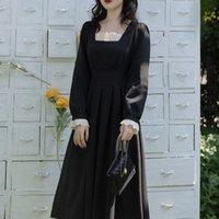 Blce Vestido Gótico Mulheres Utumn Elegnt LCE Prty Midi Dress Femle Hepburn Estilo Koren One-Peça Vestido Gótico Vestuário 2021