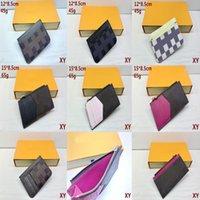 Atacado homens e mulheres moda clássico bolsa de cartão marrom pequeno pequeno treliça de lazer de lazer crédito clipe de couro ultra-fino # 11 * 7.5