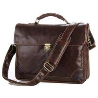 Briefcases Luufan Classic Vintage Leather Men's Chocolate Briefcase Laptop Bag Messenger Handbag 7091C 2021 Design Fashion Style