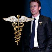 Klapel Kryształ Kaduceusz Szpilki Odznaka Medycyna Broszki Symbol Biżuteria Prezenty dla Pielęgniarka Lekarz Medycyny Studentów Ena
