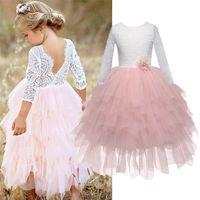 Lace Girls Long Kleid Kinder Pageant Kleidung Kinder Tutu Layered Kleid Mädchen Unregelmäßige Kugelkleider für 3 4 5 6 7 8T Babykleidung 210319
