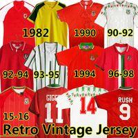 Giggs 1982 90 92 93 94 95 96 15 16 ويلز الرجعية لكرة القدم الفانيلة خمر بيل هيوز سوندرز راش بودن سرعة كلاسيكي كرة القدم قميص