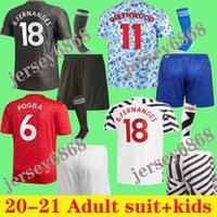 2021 Pogba Manchester Fernandes Cavani UTD Rashford Soccer Jersey Kids Man Kit Camicia da calcio 20 21 22 Attrezzature Adulto Adulto Bambini + calzini