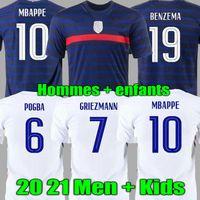Euro 2020 Copa Benzema Griezmann Mbappe Francia Fútbol Jersey Pogba Giroud Kante Maillot De Foot Equipe Maillots Camisa de Fútbol Uniformes La 2021 Hombres + Kit Kids