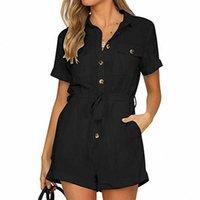 Damen Jumpsuit Button heruntergefärbt Kurzarm Office Dame Sommer Kleidung Feste Farbe Abzugskragen Playsuit Jumpsuit Q9hy #