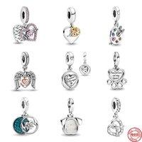 Altro 2021 Giornata della mamma Regalo Pink Heart Mum Ciondolare la mia tavoletta per cani Pet Branelli Fit Charms originale Argento 925 Bracciale gioielli