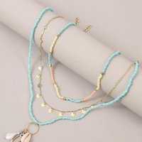 Pendant Necklaces 3 Pcs Set Beach Style Fashion Blue Glass Beaded Long For Women Bohemian Shell Pearl Pin Gold Chain Necklace