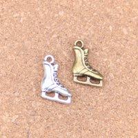 70 adet Antik Gümüş Bronz Kaplama Buz Paten Ayakkabı Charms Kolye DIY Kolye Bilezik Bileklik Bulguları 17 * 12mm