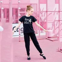 Girls Soft Printing Ballet Dance T Shirts Summer Kids Color Short Sleeve Clothes For Training