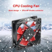Fans & Coolings 12V Black + Red Computer Wired Cooling Fan 3Pin+4Pin Quiet Design CPU Cooler Chassis Case Water 80*80*25mm