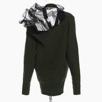 Camisolas femininas Twotwinstyle de malha ou de crochê com camisola feminina v neck manga comprida camisola roupas 7hlu