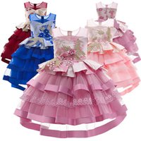 Girl's Dresses Kids Teenage Girls Clothes Children Wear Birthday Flower Embroidery Pettiskirt Party Formal Princess Dress Pageant Tiered B5597