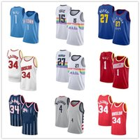 جديد Vintange Men15 نيكولا 27 جمال Jokic Murray 1 John Russell Wall 4 Westbrook مدينة الرجال NCAA كرة السلة الفانيلة تنفس حجم S-2XL