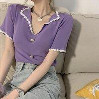 Women's T-Shirt Ice Silk Short Sleeve V-neck Fashion Net Red Design Small Crowd High Waist BM Top