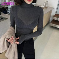 Korean Autumn And Winter Heart Machine Micro Transparent Elegant Thread High Collar Slim Bottoming Sweater Women's Sweaters