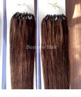 """100g Pack 16 """"18"""" 20 """"22"""" 24 """"26"""" Remy Micro Ringschleife 100% indische menschliche Haarverlängerungen Farbe # 4 dunkelbraun"""